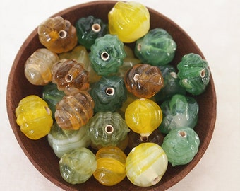 20 Fluted Glass Pumpkin Beads Vintage Style Mixed Colours Green Yellow Ochre Sizes Range 10 - 13mm