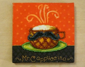 Fridge magnet with beaded  cup of cappuccino «Mr Cappuccino»
