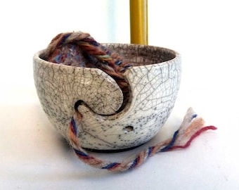 White yarn shell Raku