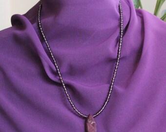 """Purple beaded pendant necklace.  12"""" L"""