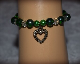 Handmade green beaded with Heart charm