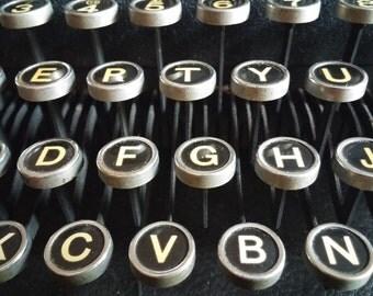 Antique Typewriter Photo Print - Vintage Typewriter Keys Close Up Fine Art Photograph Print