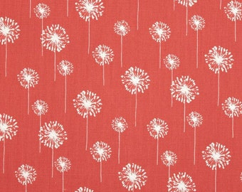 Premier Prints Cotton Duck Fabric, Small Dandelion Coral/White Fabric