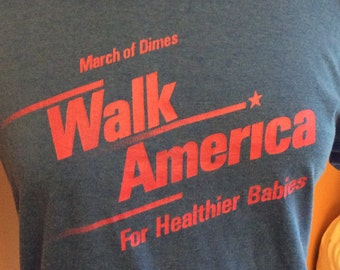 Vintage 80s March of Dimes  Walk America T-Shirt (A556)
