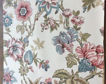 "Vintage 1977 Wallpaper Sample - 17""x15"" - Green, Blue, Pink Flowers (A862)"