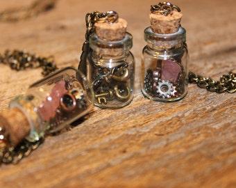 Steampunk Bottle and Gears/Keys Necklace