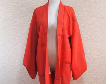 Haori/Japanese cardigan /vintage /traditional wear/for kimono/red