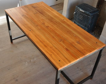 Dining modern cherry wood massif and metal table.