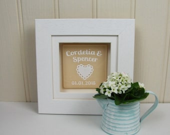 Personalised Framed Handmade Fused Glass Wedding Keepsake with Confetti Heart Papercut by Jessica Irena Smith