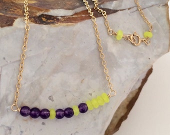 Minimalist 14k Gold Filled Necklace, Amethyst, Yellow Jade