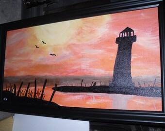 12 X 24 Acrylic painting of sunset and lighthouse scene