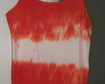 Hand Tie Dyed Spaghetti Strap Top Orange & White