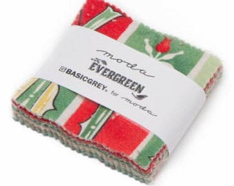 Moda Evergreen Mini Charm Pack by Basic Gray  42  2 1/2 inch Squares