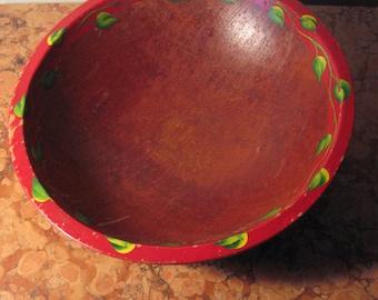 1950's Rustic Chippy Paint Primitive Wooden Bowl! #BV