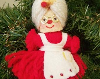 Vacation Sale Vintage Christmas Ornament – yarn Mrs. Claus – 1970s Hallmark ornament