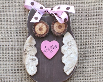 Wood Owl Ornament, Wooden Owl, Holiday Ornament, Gift for Girl, Woodland Bird, Woodland Animal, Rustic Owl, Personalized Gift, Nursery Decor