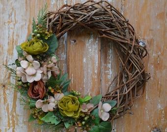 Flowers Wreath, Grapevine wreath, Fall wreath, Spring Wreath, Door Wreath, Wedding Wreath