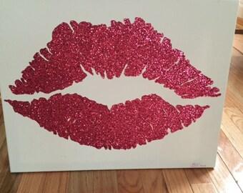 16x20 Handmade Pink Glitter Lips