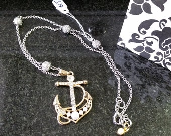 Two Toned Anchor Necklace
