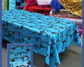 Turquoise / Brown Ribbon Taffeta 58 X 108 Rectangle Tablecloth