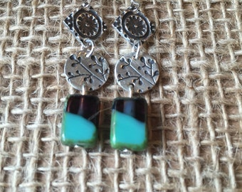 Purple and Teal Flower Dangle Earrings