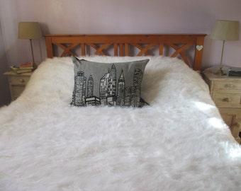 Mongolian White Faux Fur Throw Blanket, Bedspread, Long Pile Faux Fur, White Faux Fur Blanket