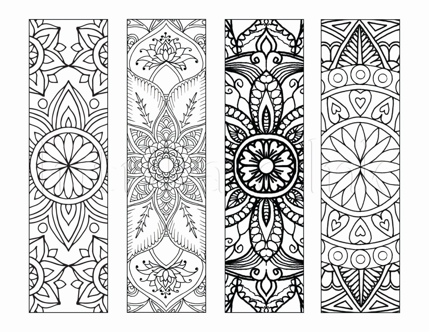 4 mandala colouring bookmarks set 1 instant download