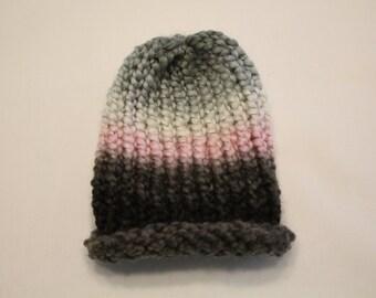 Pink, White, Gray, and Black Handmade Baby Winter Hat