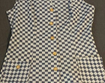 70s Navy Checkered Vest Gold Buttons Sz 18