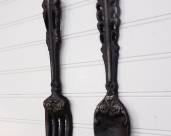 Rustic Kitchen/Wall Decor/Fork & Spoon/Shabby Chic Kitchen Decor/Black Kitchen Decor/