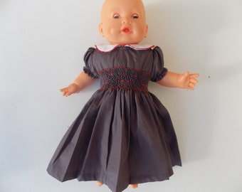 dress, collar Claudine, doll, cotton clothing, with red dots, smocking, embroidered hand, 30 cm, 36 cm, 42cm / 52 cm