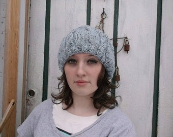 Discounted. Sale price. Cabled beanie. Blue cable beanie. Knit hat. Ready to ship.