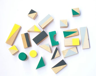 24 wooden blocks in Autumn colours - Wooden toys - Toddler gift - Baby gift - Building blocks - Kids gift - Handmade toys