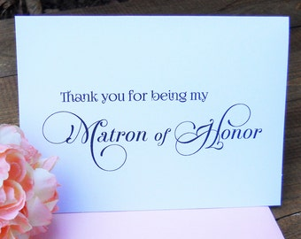 Thank You for being my MATRON OF HONOR Card with Shimmer Envelope, Wedding Note Card, Matron of Honor Thank You Cards, Wedding Stationery