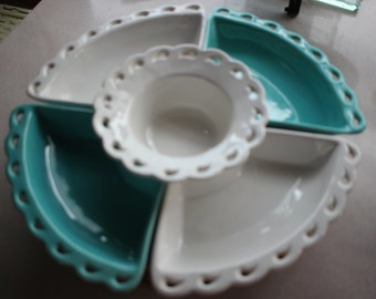 Retro Turquoise and White California USA Pottery Lazy Susan