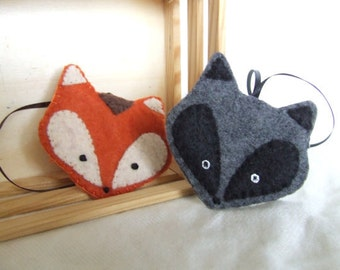 Felt Raccoon or Fox Ornament Wildlife Ornament