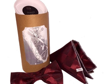 Burgundy Diamonds Bespoke Bow Tie and Pocket Square Set