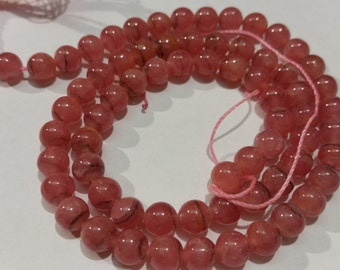 6mm & 5mm Rhodochrosite Smooth Round Beads AAA Quality and good Color