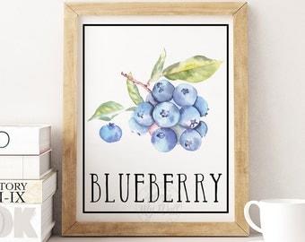 Blueberry Print Blueberries Blueberry Wall Art Fruit Wall Art Kitchen Decor