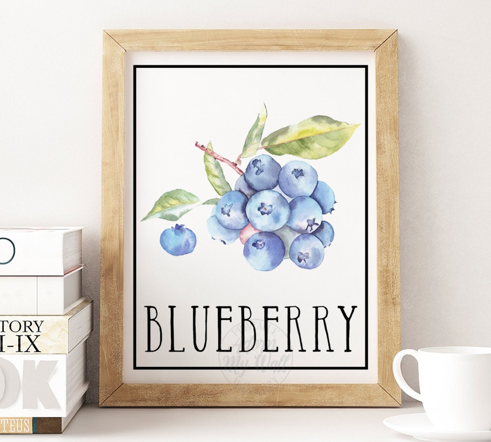 Blueberry print, Blueberries, blueberry wall art, fruit wall art, kitchen decor, kitchen print, watercolor, watercolour, digital download