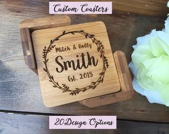 Personalized Coasters, Custom Coasters, Family Coasters, Wedding Gift, Bamboo Coasters, Engraved Coasters, Bride and Groom, Housewarming