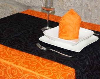 Luxury Black Table Runner - Anti Stain Proof Resistant - Pack of 2 units - Ref. Lyon