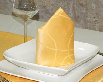Luxury Gold Napkins - Anti Stain Proof Resistant - Pack of 6 units - Ref. Lines