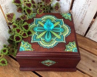 Hand Painted Mandala Jewelry Box, Wooden Box, Original Artwork, Mandala Artwork, One of a kind, Keepsake Box, Refurbished Box, Gift For Her