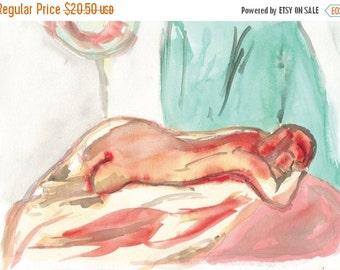 "ON SALE Original Watercolor Figure Painting ""Woman Lying Down"""
