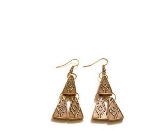 Bronze Pyramid Earrings