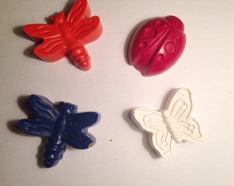 XL Girly Bugs Crayons - Set of 2 - Recycled Crayons - Girls Birthday - Party Favors - Butterflies - Butterfly Party - Bumble Bee - Lady Bug