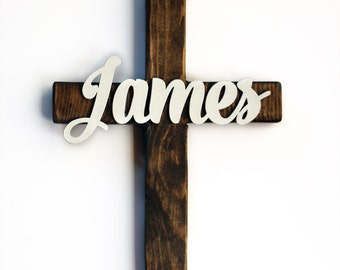 Personalized Wooden Cross - Baptism Gift - Christening Gift - First Communion - Wood Cross with Name - New Baby Gift for Christian