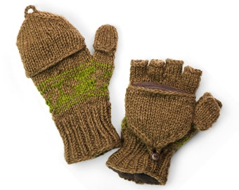 Wool Convertible Mittens, Texting Gloves, Hand Knit Glittens - Brown Snowflake - 495N