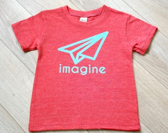Gender Neutral Modern Organic Infant & Toddler T-shirt - Imagine - Printed with Water Based Ink